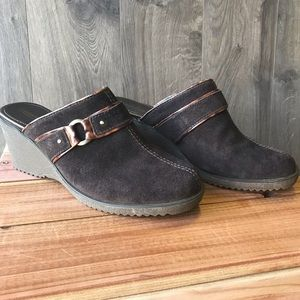 Coldwater Creek Brown Suede Clogs-Mules
